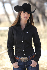 Cinch SOLID BLACK BUTTON-DOWN WESTERN SHIRT