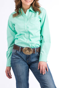 CINCH Women's Solid Mint Green Button-Down Western Shirt