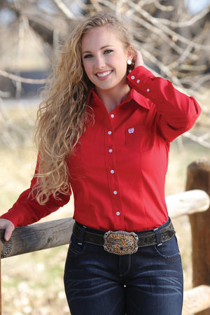 Cinch SOLID RED BUTTON-DOWN WESTERN SHIRT