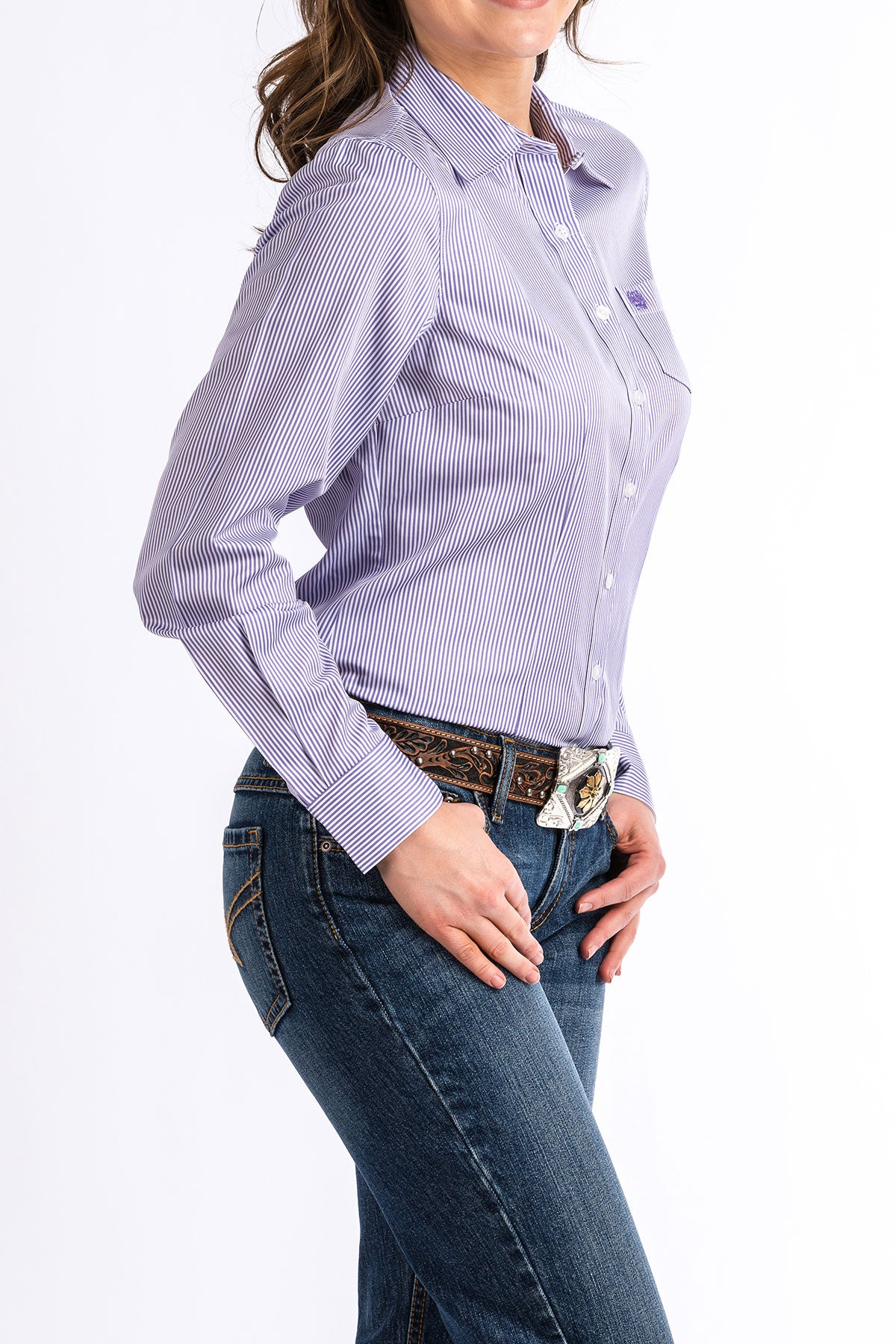 CINCH Women's Purple and White Striped Button-Down Western Shirt