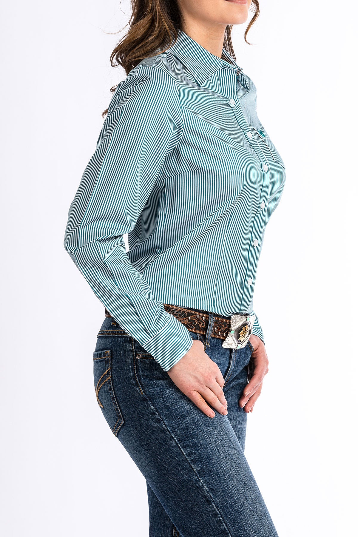 CINCH Teal and White Stripe Button Up Shirt