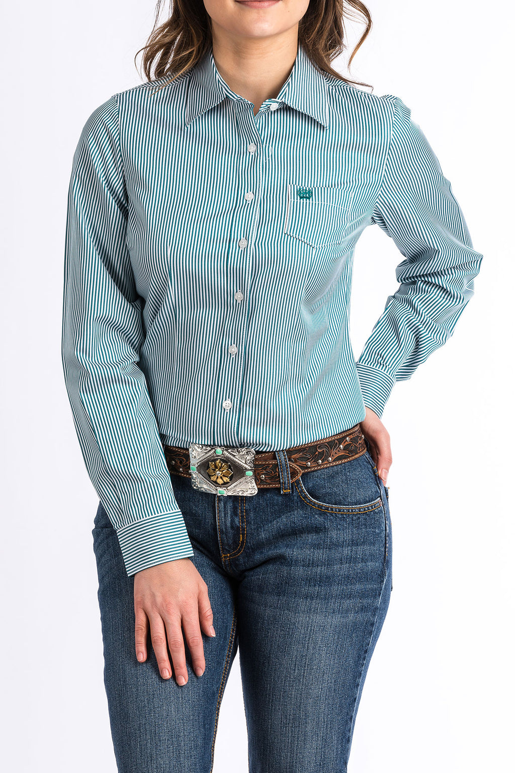 CINCH Women's Teal and White Stripe Button-Down Western Shirt
