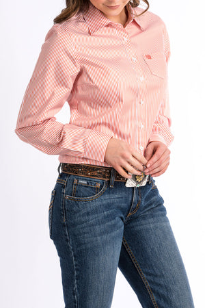 CINCH Women's Coral and White Stripe Button-Down Western Shirt