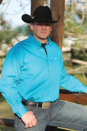CINCH Men's Solid Turquoise Button-Down Western Shirt