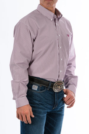 CINCH Men's Burgundy Stripe Button-Down Western Shirt