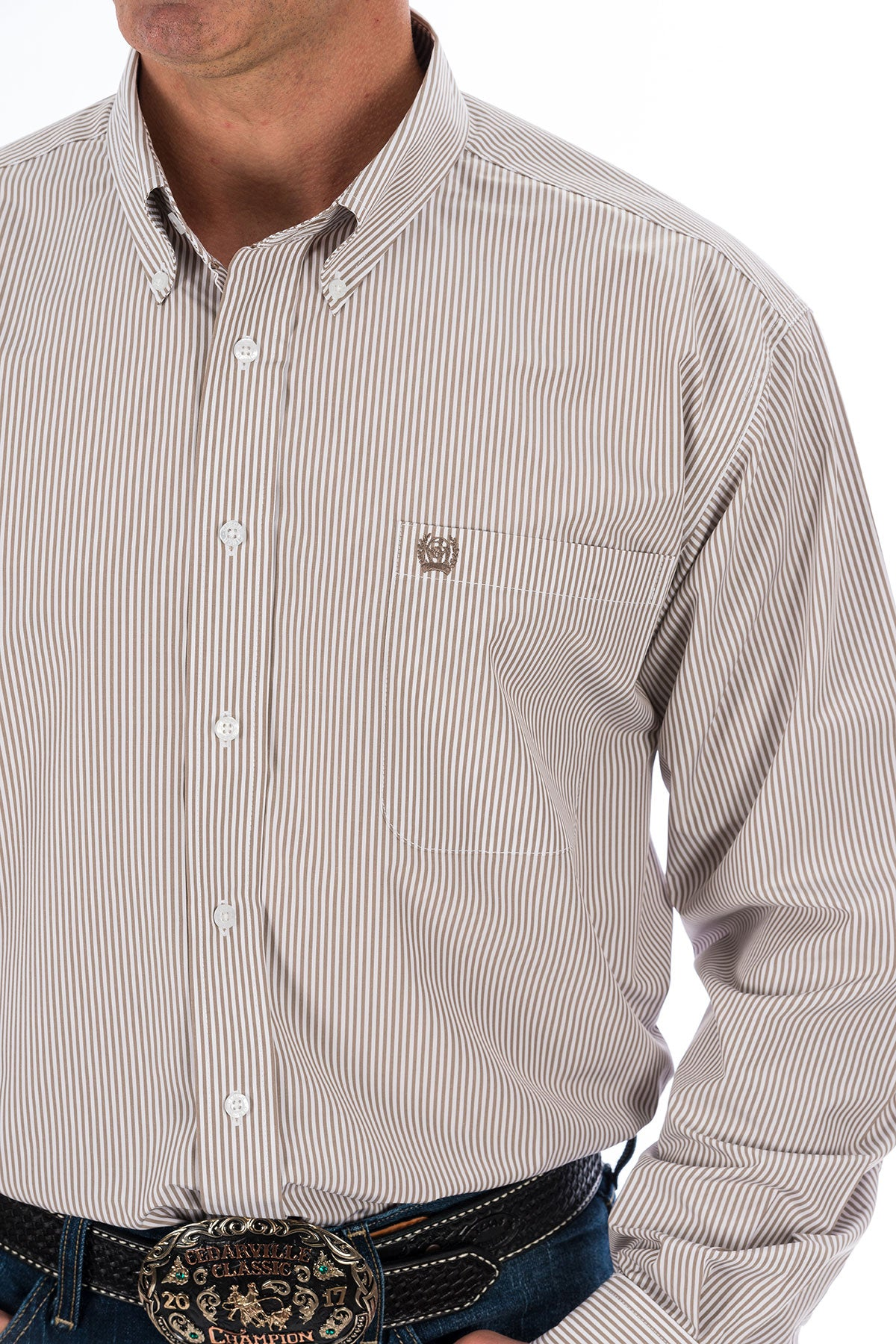 Cinch Men's Khaki Stripe Button Up Shirt