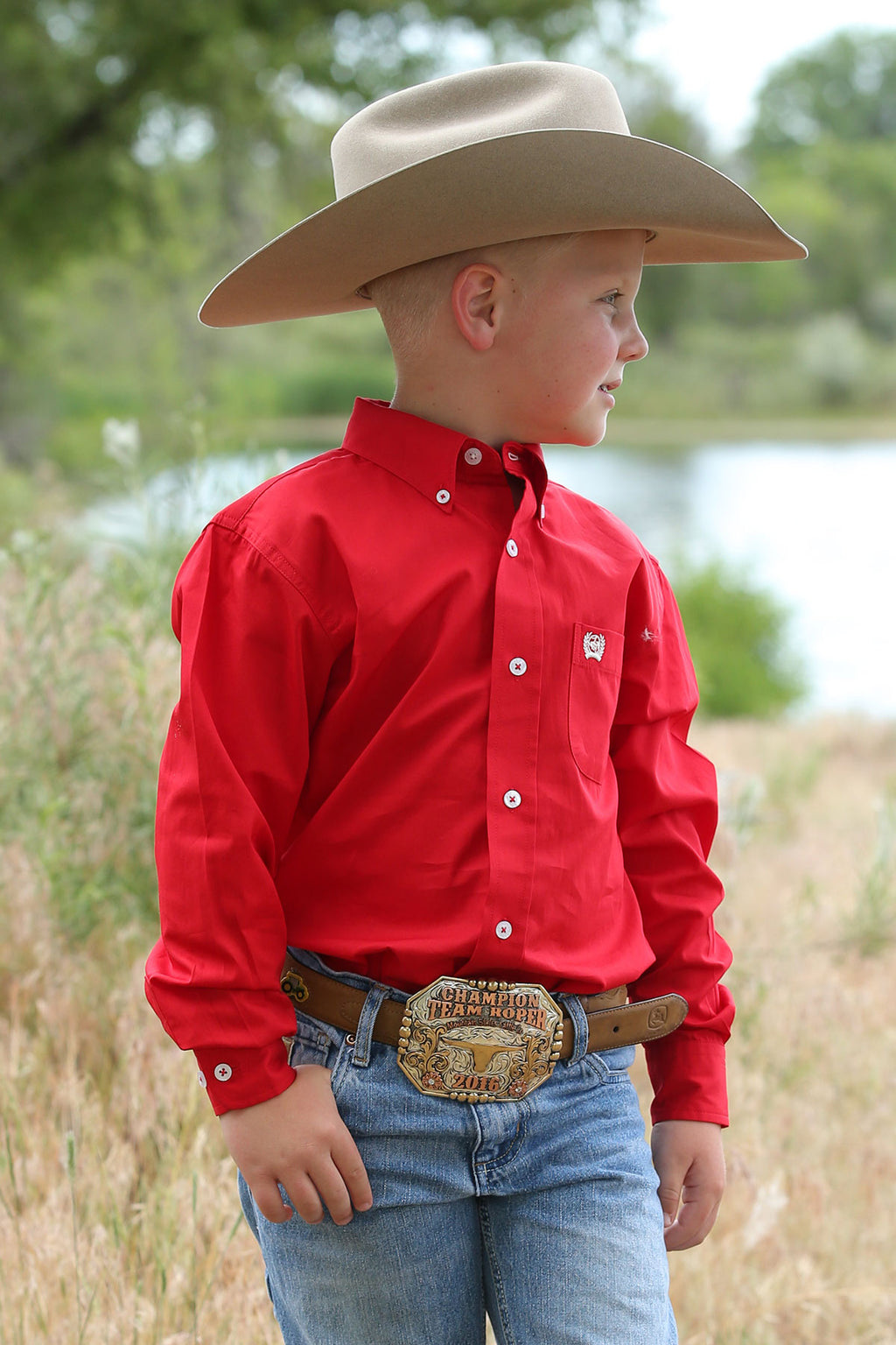 CINCH Boy's Long Sleeve Solid Red Button-Down Western Shirt
