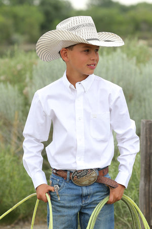 CINCH Boy's Long Sleeve Solid White Button-Down Western Shirt