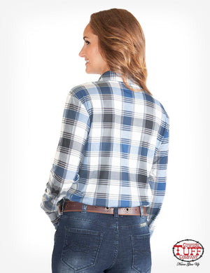 COWGIRL TUFF Women's Blue Plaid Sport Faux Button-Up Pullover Western Shirt