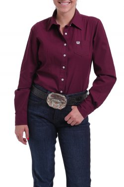CINCH Women's Burgundy Solid Button-Down Western Shirt