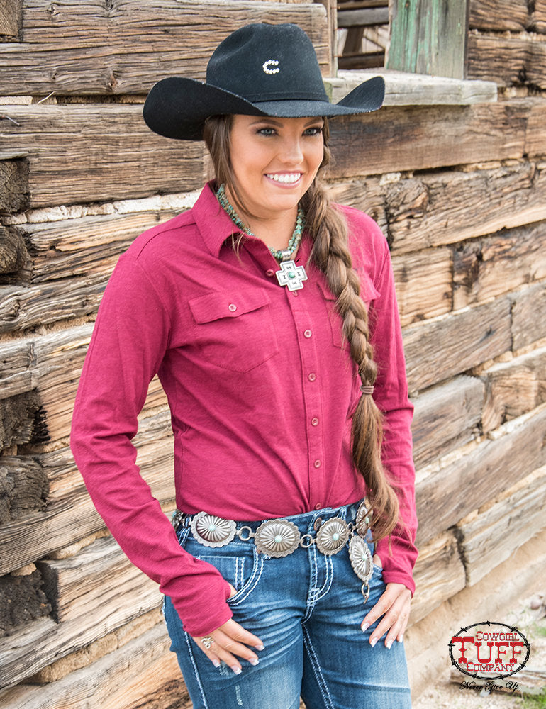 COWGIRL TUFF Women's Red Slub Sport Jersey Pullover Faux Button-Up Western Shirt