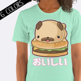 Kawaii Pug Hamburger Delicious Shirt