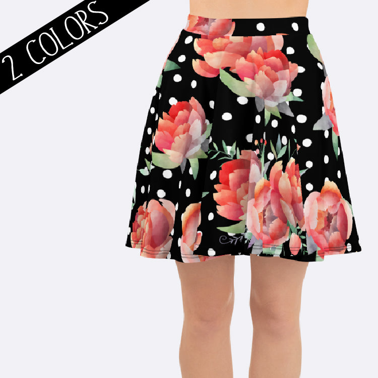 Women's Floral Polka Dot Skirt