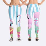 Womens Pink Flamingo Leggings