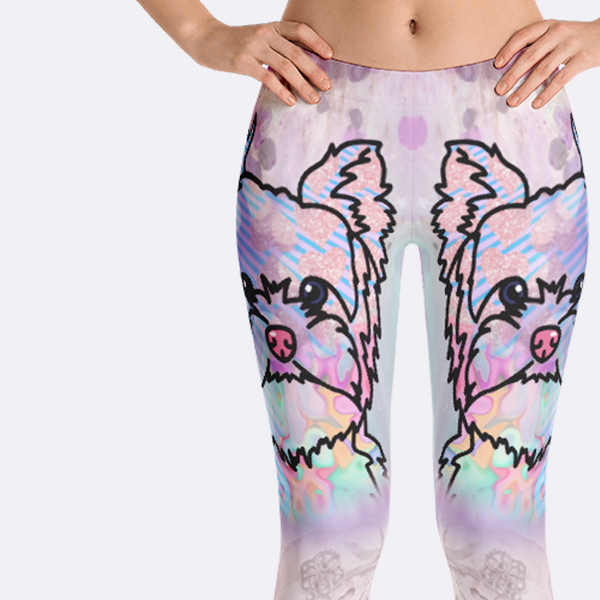 Colorful Yorkshire Terrier Yorkie Dog Breed Leggings