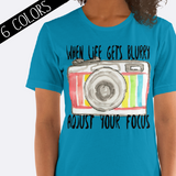 Adjust Your Focus Camera Shirt in Blue