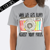 Adjust Your Focus Camera Shirt in Gray