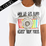 Adjust Your Focus Camera Shirt in White