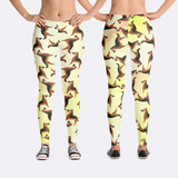 Womens German Shepherd Leggings in Yellow
