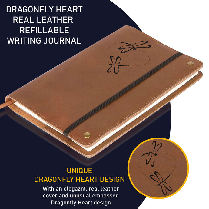 The Dragonfly Heart Real Leather Refillable Writing Journal