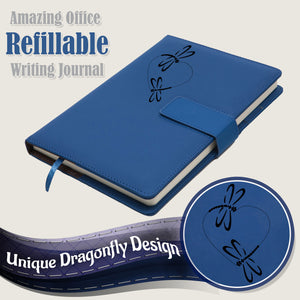 The 2 Dragonflies Refillable Writing Journal - Blue