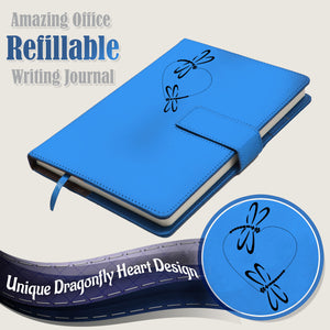 The Dragonfly Heart Refillable Writing Journal - Light Blue