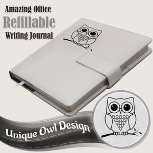 Owl Refillable Writing Journal - White