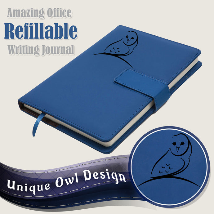 Nature Owl Refillable Writing Journal - Blue