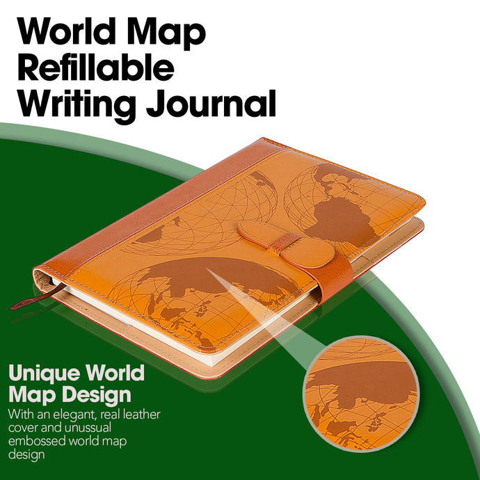 World Map Refillable Writing Journal