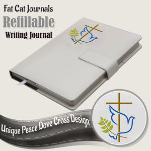 The Peace Dove Cross Refillable Writing Journal - White