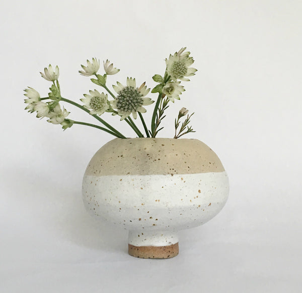 White fat stoneware vase
