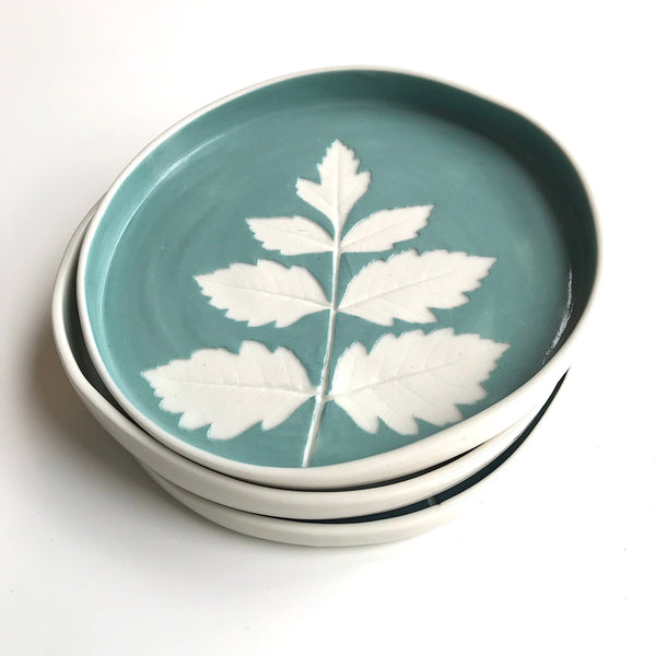 Porcelain Leaf Plate - Teal