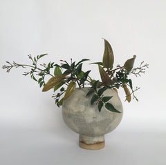 Small grey pot bellied vase