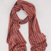 Broken Dash Narrow Scarf - Shell Pink and Petrol
