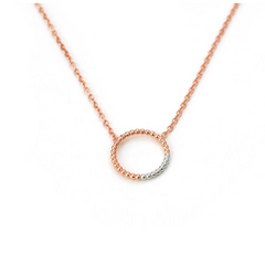 Circle Necklace - Rose and Rhodium