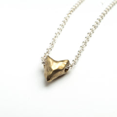 Brass matt heart necklace
