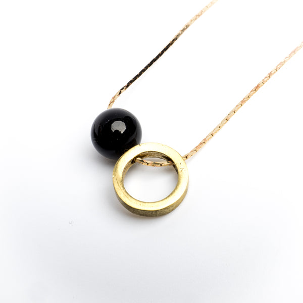 Brass Ring & Onyx Stone Necklace