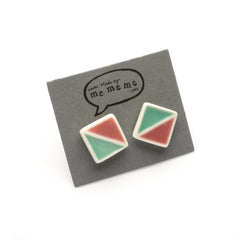 Green/pink square earrings