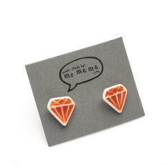 Red jewel stud earrings
