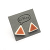 Red triangle stud earrings