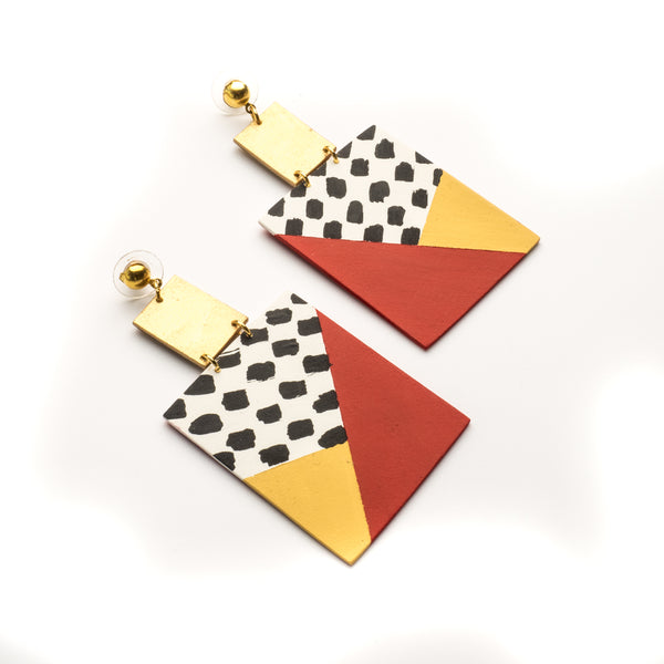 Red square drop earrings