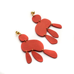Red colour pop drop earrings