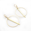 Brass circle & bar earrings