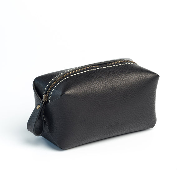 Leather Cosmetic Bag - Black