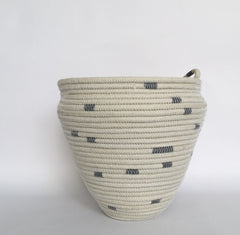 Large grey striped basket