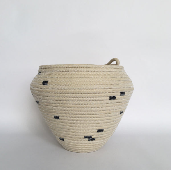 Large navy striped basket