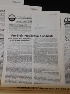 News from the National Association of Railroad Passengers 1988 COMPLETE YEAR Lot