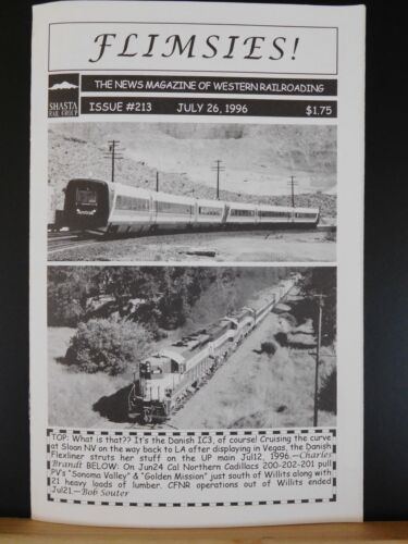 Flimsies West Issue #213 July 26, 1996 News Magazine of Western Railroading