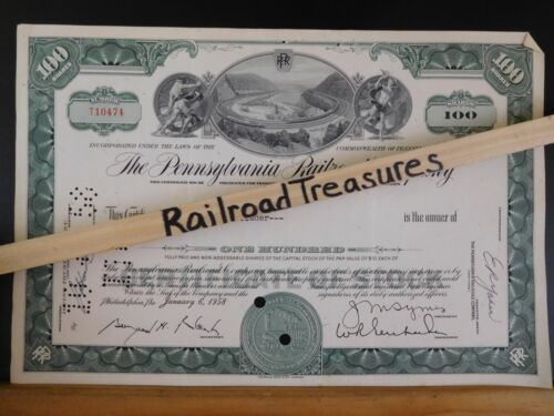 Stock certificate Pennsylvania Railroad Company T10474 100 shares AB Cadwallader