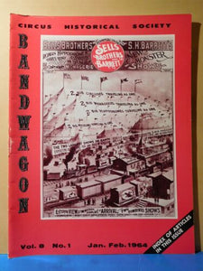 Bandwagon 1964 January February Circus Magazine Index of articles Vol 1-7